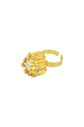 Gold Plated Handcrafted Pearl Adjustable Blossom Ring by Fusio