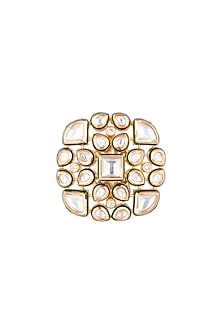 Gold Finish Kundan Flower Ring by Firdaus By Akshita