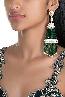 Gold Finish Emerald Tassel Earrings by Firdaus By Akshita