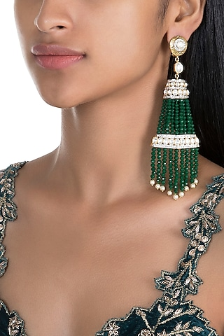 Gold Finish Emerald Tassel Earrings by Firdaus By Akshita