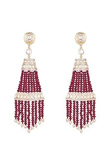 Gold Finish Ruby Tassels Earrings by Firdaus By Akshita