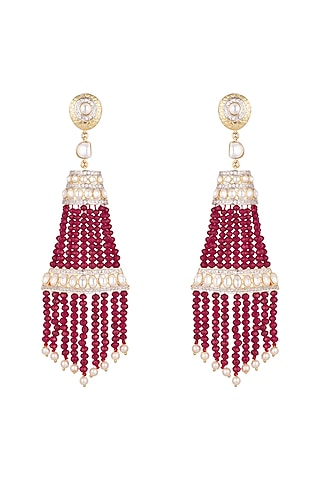 Gold Finish Ruby Tassels Earrings by Firdaus By Akshita
