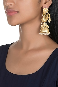 Gold Finish Peacock Jhumka Earrings by Firdaus By Akshita
