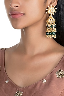 Gold Finish Stud & Jhumka Earrings by Firdaus By Akshita