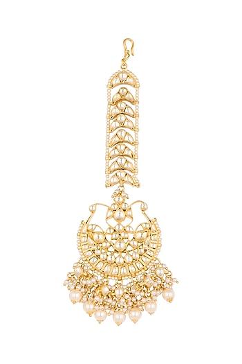 Gold Finish Pearls Half Moon Shaped Maang Tikka by Firdaus By Akshita