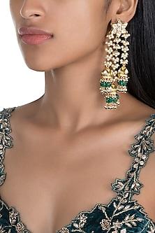 Gold Finish Triple Hanging Jhumka Earrings by Firdaus By Akshita