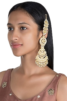Gold Finish Vintage Long Earrings With Ear Chain by Firdaus By Akshita