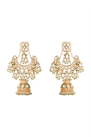 Gold Finish Green Stones Jhumka Earrings by Firdaus By Akshita