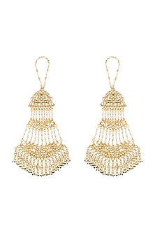 Gold Finish Wide Kundan Jaal Dangler Earrings by Firdaus By Akshita