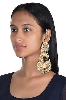 Gold Finish Wide Kundan Jaal Dangler Earrings by Firdaus By Akshita