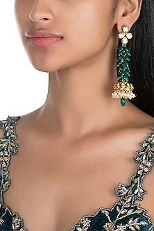 Gold Finish Kundan & Emerald Jhumka Earrings by Firdaus By Akshita