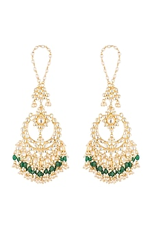 Gold Finish Emerald Chandbali Earrings by Firdaus By Akshita