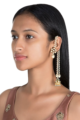 Gold Finish Long Stud Pearls Earrings by Firdaus By Akshita