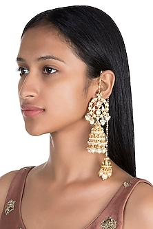Gold Finish Pearls Double Jhumka Earrings by Firdaus By Akshita