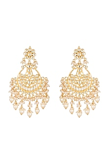 Gold Finish Kundan Earrings by Firdaus By Akshita