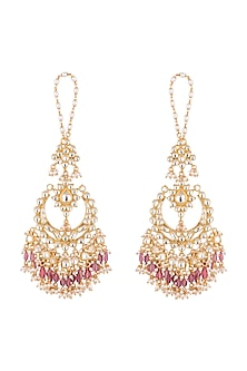 Gold Finish Chandbali Earrings by Firdaus By Akshita