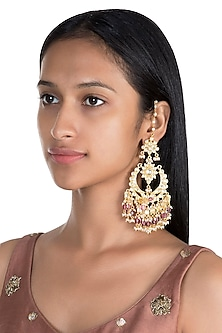 Gold Finish Chandbali Earrings by Firdaus By Akshita
