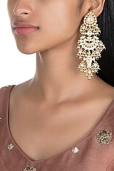 Gold Finish Kundan Dangler Earrings by Firdaus By Akshita