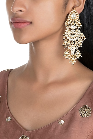 Gold Finish Kundan Dangler Earrings by Firdaus By Akshita