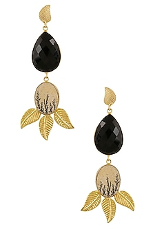 Gold Plated Black Onyx Stone Korean Leaf Earrings by Finura By Richa