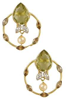 Gold Plated Yellow Drop Glass Earrings by Finura By Richa