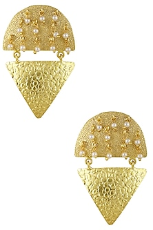 Gold Plated Triangle Design Earrings by Finura By Richa