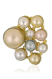 Gold Plated Pearl Cluster Ring by Finura By Richa
