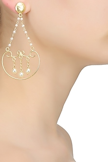 Gold finish pearl string chain drop earrings by Finura By Richa