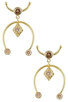 Gold finish horseshoe open earrings by Finura By Richa