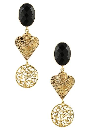 Gold finish black onyx stone filigree drop earrings by Finura By Richa