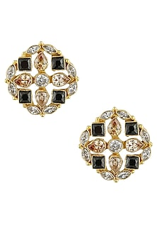 Gold finish zircon stones statement stud earrings by Finura By Richa