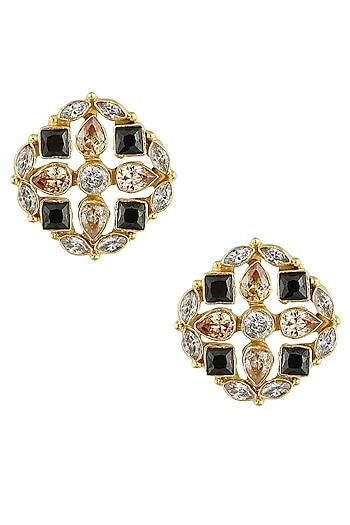 Gold finish zircon stones statement stud earrings by Finura By Richa