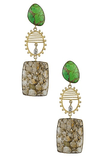 Gold finish mohare green stone drop earrings by Finura By Richa