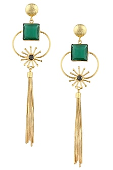 Rhodium Polished Tassel Drop Earrings by Finura By Richa