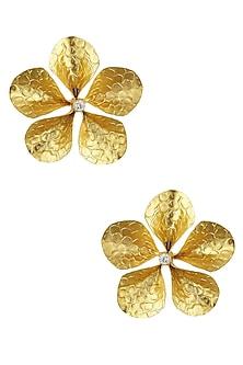"Gold Finish Cut Out ""Fleura"" Stud Earrings by Finura By Richa"