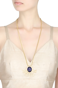 "Gold Finish Textured Branch Motif ""Sea Princess"" Necklace by Finura By Richa"