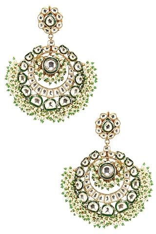 Gold Finish Pearl Crescent Earrings by Firdaus By Akshita