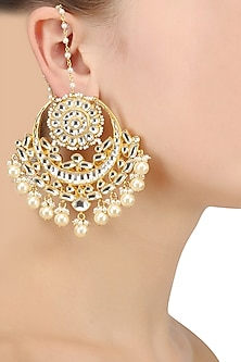 Gold Finish Kundan and Pearl Crescent Earrings by Firdaus By Akshita