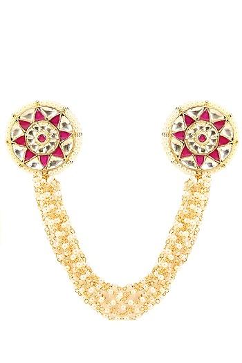 Gold Finish Pink and White Kundan Stone Ring by Firdaus By Akshita