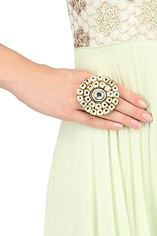 Gold Finish Kundan Studded Cocktail Ring by Firdaus By Akshita