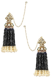 Gold Finish Tassel Hanging Earrings by Firdaus By Akshita