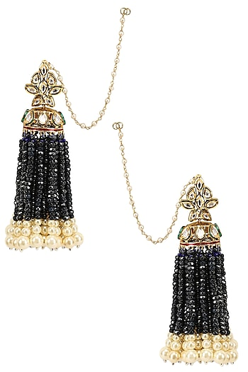 Gold Finish Tassel Hanging Earrings by Firdaus By Akshita