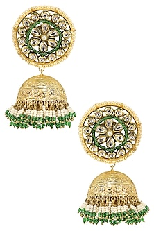 Gold Finish Kundan Studded Earrings by Firdaus By Akshita
