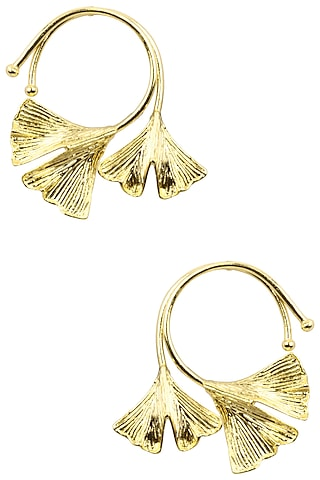 Gold Finish White and Black Stone Earrings by Firdaus By Akshita