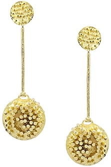 Gold Finish 3D Pipes Long Earrings by Firdaus By Akshita