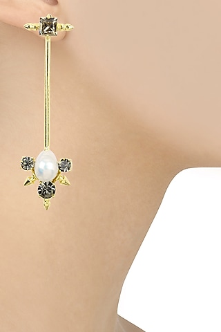 Gold Finish Black Swarovski Long Earrings by Firdaus By Akshita