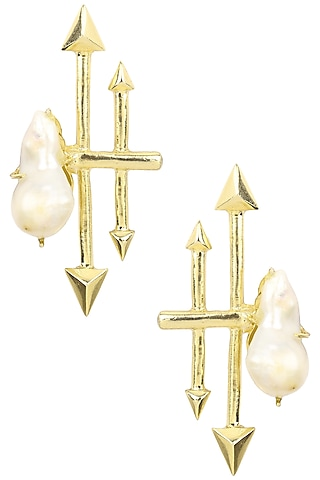 Gold Finish Baroque Pearl Arrrow Earrings by Firdaus By Akshita