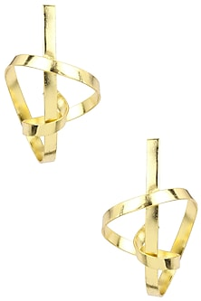 Gold Finish Spiral Earrings by Firdaus By Akshita