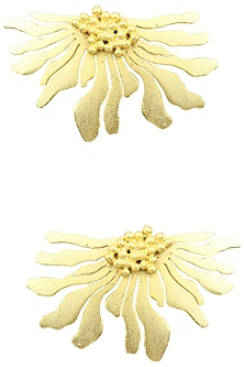 Gold Finish Half Flower Earrings by Firdaus By Akshita