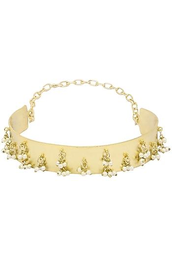Gold Finish Band Choker Necklace by Firdaus By Akshita